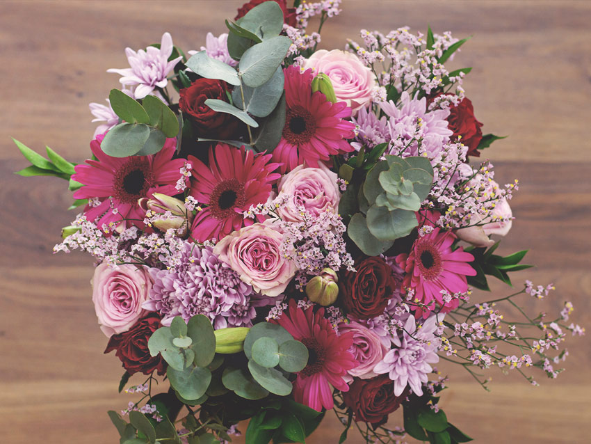 A marvellous magnificent bouquet of blush hues mixed with pink gerberas, roses, penny gum and greenery