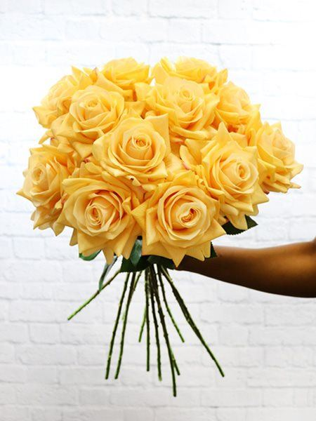 Silk Flowers & Plants: Peach Real Touch Roses x 12
