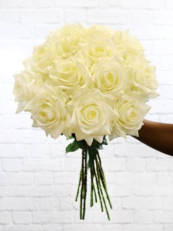 Silk Flowers & Plants: Cream Real Touch Roses x 12