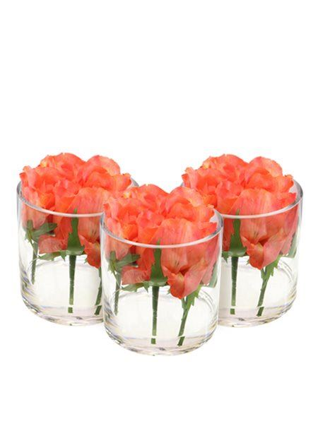 Silk Flowers & Plants: Roses in cylinder vase - Set of 3