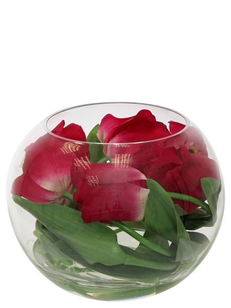 Silk Flowers & Plants: Tulips In Glass Fishbowl (Silk)