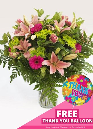 Easter: Heavenly Pink Vase Arrangement with FREE balloon