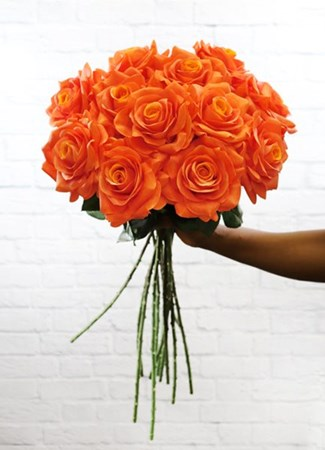 Silk Flowers & Plants: Orange Real Touch Roses x 12