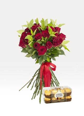 Bouquets: Hand Tied Red with Ferrero Rocher