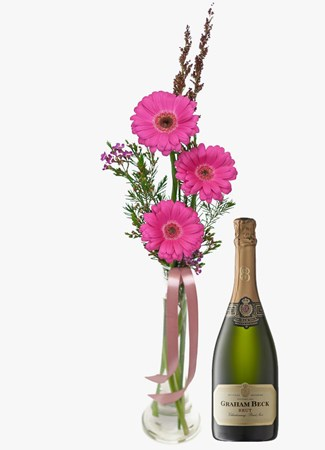 Arrangements: Pink Gerberas in Small Glass Vase with Graham Beck