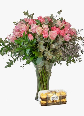Arrangements: Pink Rose Vase with Ferrero Rocher