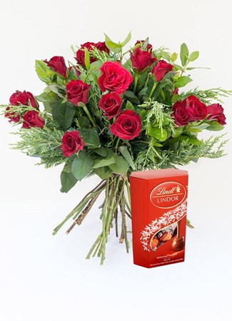 Bouquets: Premier Red Rose Bouquet with Lindt Lindor