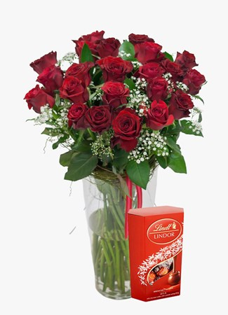 Arrangements:  Red Rose & Million Stars Lindt Lindor
