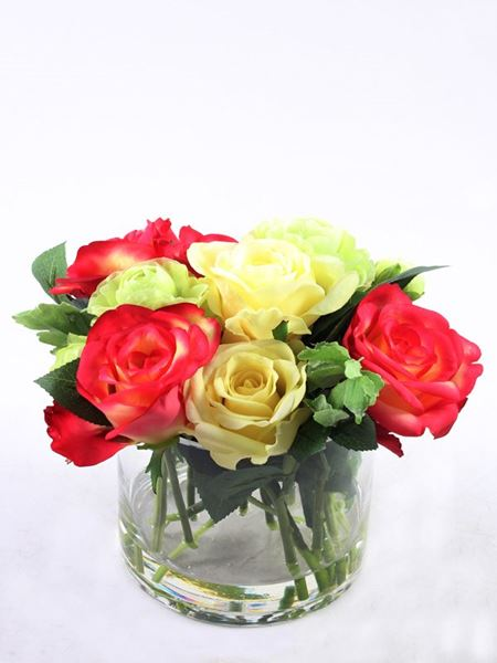 Silk Flowers & Plants: Rose Mix In Glass Vase (Silk)