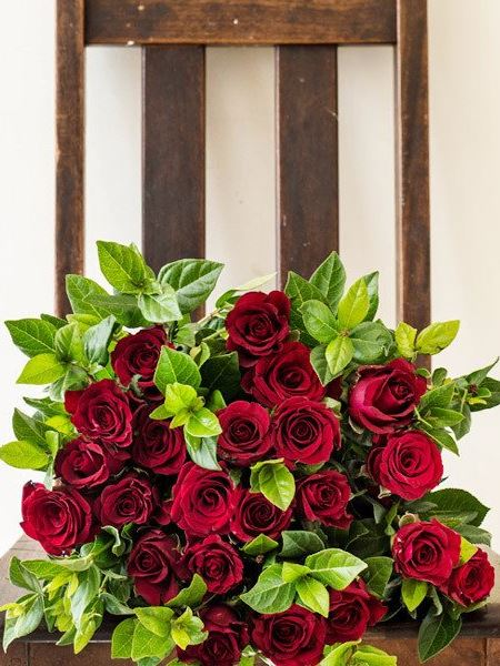 Bouquets: Red Rose Greenery Bouquet