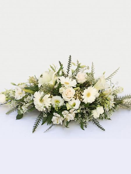 Funeral : White Coffin Arrangement AV