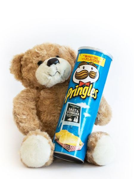 Soft Toys and Gifts: Teddy Bear & Blue Pringles