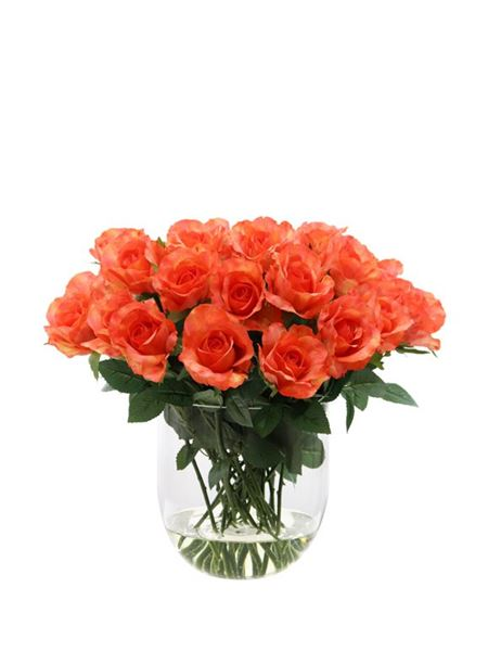 Silk Flowers & Plants: Rose Bowl - Coral