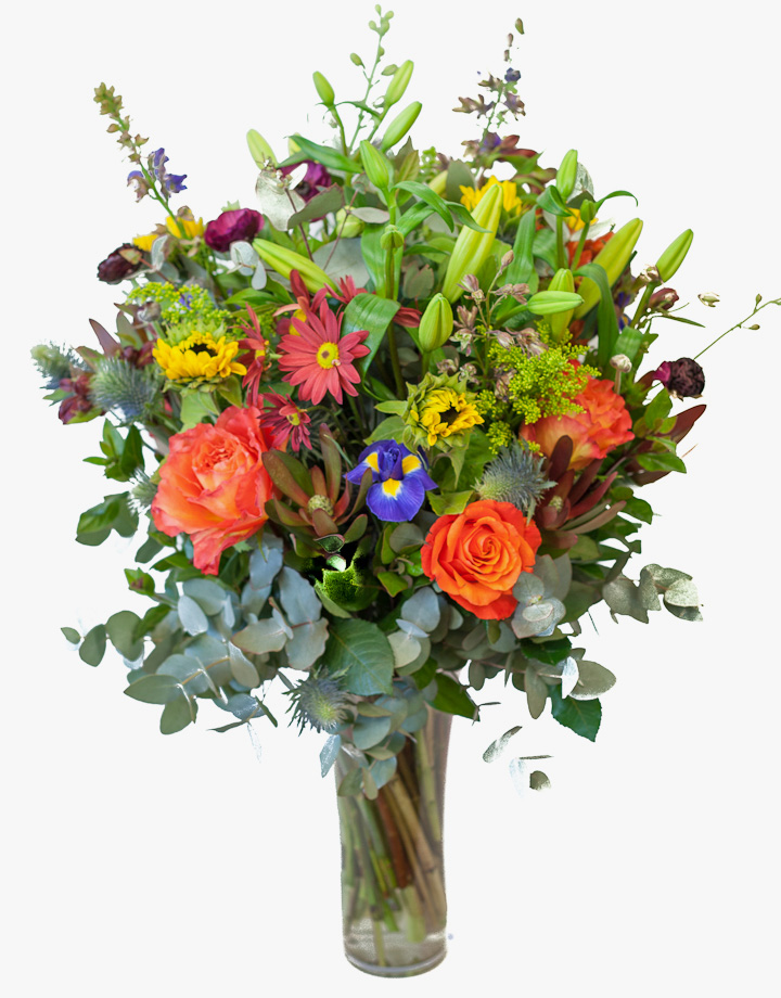 Mixed seasonal vase of flowers delivered by sa florist