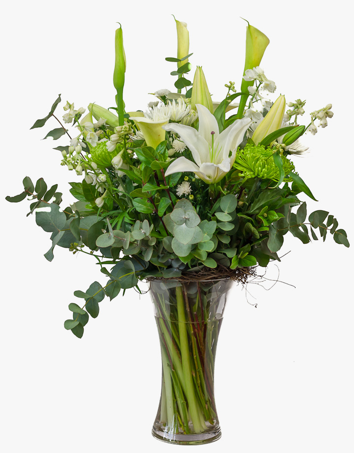 White lilies bouquet all types of flowers by